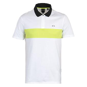 Armani Exchange Zip Polo Shirt - White & Neon