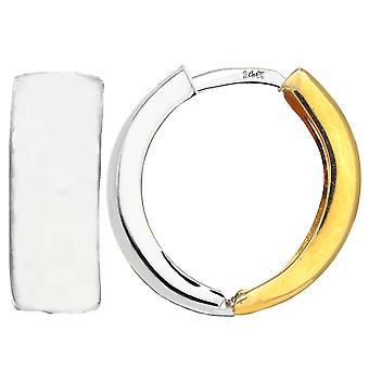 14 k 2 тон золото Snuggable реверсивный обнимающие мочку уха серьги, диаметр 15 мм