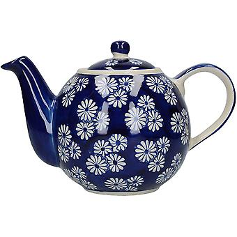 London Pottery Out of the Blue Globe Teapot with Strainer, Stoneware, Navy Blue