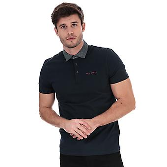 Men's Ted Baker Gripp gewebten Kragen Golf Polo Shirt in blau