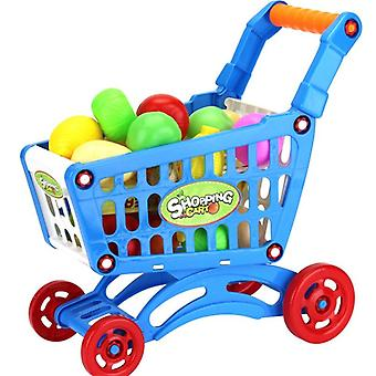 Shopping Trolley Cart Supermarket Push Car Basket Mini Fruit Food Pretend Play