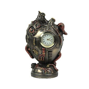 Bronze Finished Steampunk Human Heart Desk Clock 4.5 Inches High