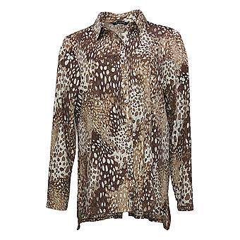 H par Halston Women's Printed Jersey Button Front Tunic Brown A366428