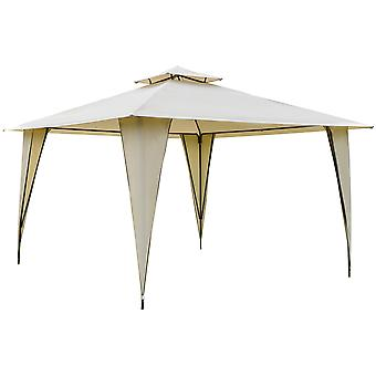 Outsunny 3.5x3.5m Side-Less Outdoor Canopy Tent Gazebo w/ 2-Tier Roof Steel Frame Garden Party Gathering Shelter Beige