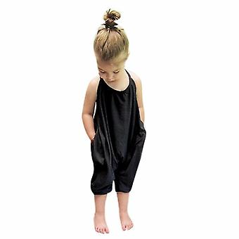 Baby Strap Pant Overalls Solid Color,kids Sling Jumpsuit Trousers Beach Clothes