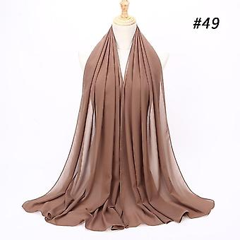 Muslim Plain Bubble Chiffon Hijab, Scarf Women, Soft Long Shawls And Wraps,