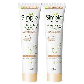2pack 40ml hidratante simple de triple protección SPF 30 para piel opaca y cansada