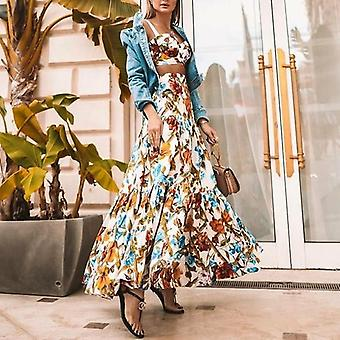 Floral Printed Tank Top And Long Skirt Two-piece Set