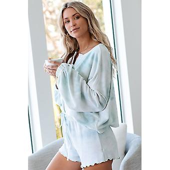 Sky Blue Tie Dye Knit Long Sleeve And Short Pajamas Set