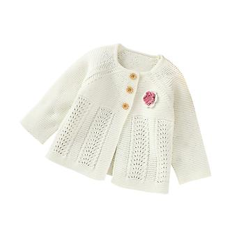 Autumn Baby White Lovely Flower Single Breasted Sweater
