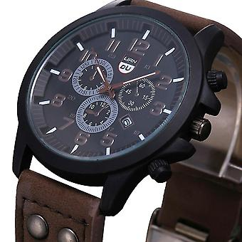 Men Watch Military Sport Stainless Steel, Waterproof Date Leather Quartz