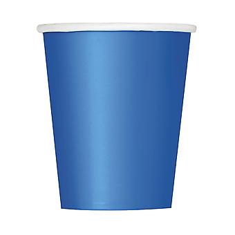 8 Blauwe kartonnen bekers 266 ml