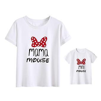 Puuvilla Perhe Matching Vaatteet, Asut Äiti ja Tytär T-paita