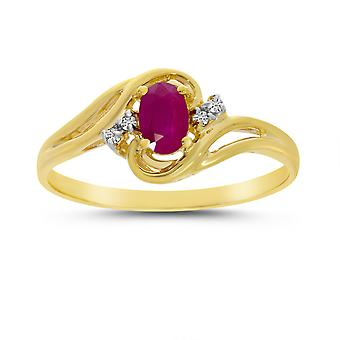 LXR 10k oro amarillo oro oval rubí y anillo de diamantes 0.36 ct