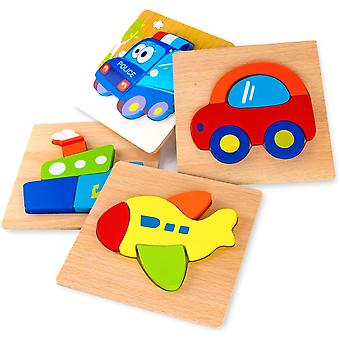 Wooden Vehicle Puzzles For Toddlers , Educational Toys 4 Pcs