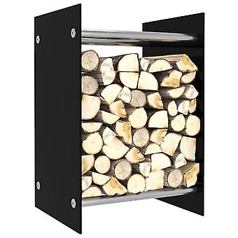 vidaXL Brennholzregal Schwarz 40 x 35 x 60 cm Glas