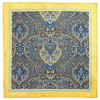 Simon Carter Paisley Pocket Square - Yellow/Blue
