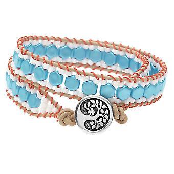Honeycomb Dobbelt indpakket væven armbånd - Coral & Aqua - Eksklusiv Beadaholique smykker Kit