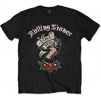 Rullende steiner savner deg svart mens t skjorte: XXL