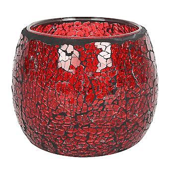 Stor rund rød knitrende lysestage