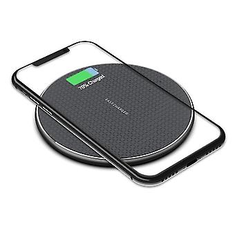 Ultra-thin aluminum alloy 10w wireless fast charger, universal phone wireless charger(Black)