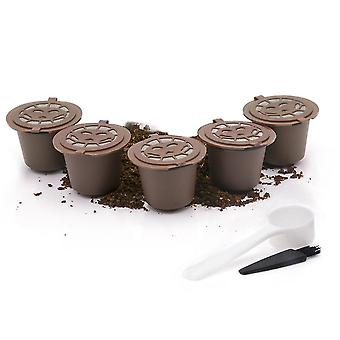 5 Pack Reusable Coffee Pods Refillable Coffee Capsules With Spoon And Brush(Brown)
