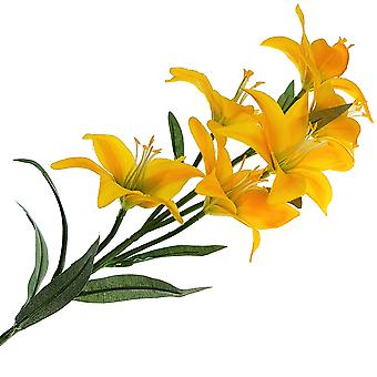 68cm Yellow Lily Spray - Artificial Fabric Flowers