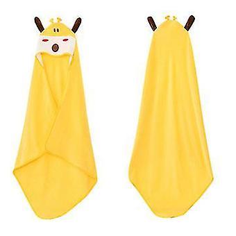 Eläinten hupullinen vauvan pyyhepesulappu, taapero premium puuvilla imukykyinen kylpytakki tytöille pojat (keltainen)
