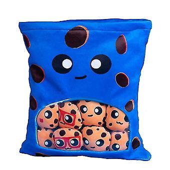 لطيف رمي وسادة محشوة الكوكيز القابلة للإزالة رقيق الهدايا الإبداعية للفتيات | أفخم الوسائد (الأزرق)