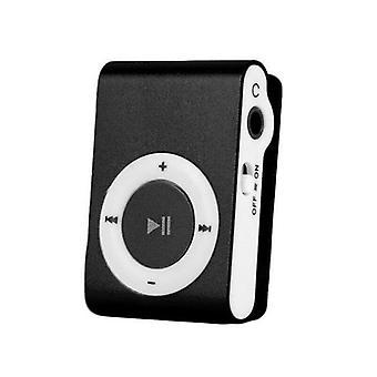 (Zwart) Draagbare Mini MP3-speler Clip USB Play Micro SD-kaart Media Muziekspelers