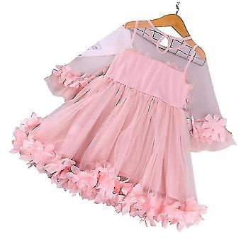 Baby Girl Dresses Ruffle Lace Pageant Party Wedding Flower Girl Dress(110CM)