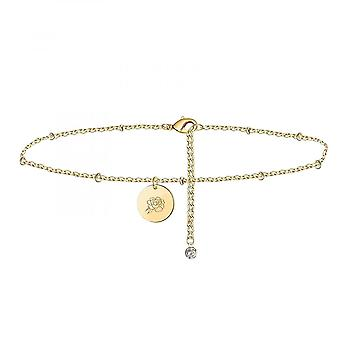 Women Coin Anklet  Gold Birth Month Floral Pendant Anklet  Jewelry Gift