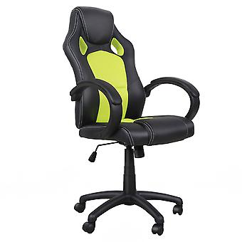 HOMCOM High-Back Gaming Chair Swivel Home Office Computer Racing Gamer Desk Chair Faux Leather with Wheels, Black Green