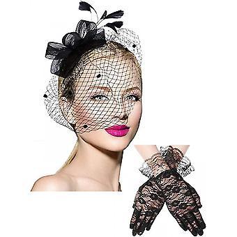 Bowknot Hat Tollak Fátyol Mesh fejpánt és rövid virágos csipke kesztyű (fekete)
