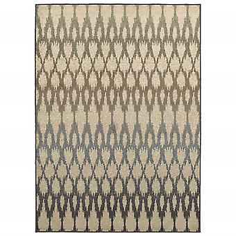 7' x 10' Ivory Gray Light to Dark Geometric Indoor Area Rug