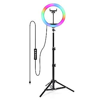 Selfie Flash Dimmable 10 RGB LED Ring Light WithTripod Stand & Phone Holder & Bag