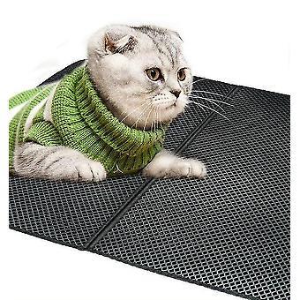 Schwarze wiederverwendbare Doppelschicht Katze Wurf Matte