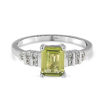TJC Peridot Verlobung Solitär Ring für Damen Silber Weißer Zirkon 1.9ct(Q)