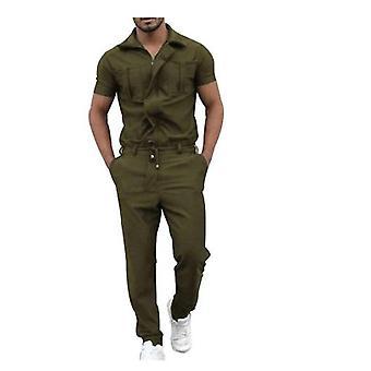 Kortærmet buksedragt til mænd med lynlåslukning Lomme overalls i ét stykke