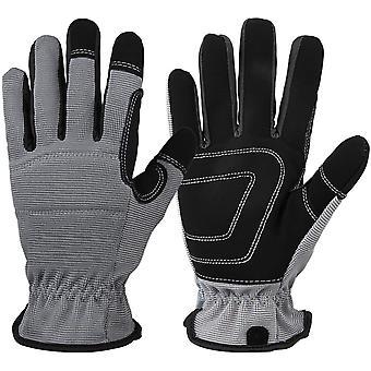 Work Gloves - Touchscreen & Flexible For Men Women Gardening   Yard Working   Woodworking   2 Pairs -  Grey