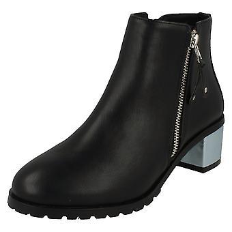 Ladies Anne Michelle Metallic Block Heel Ankle Boots F50633