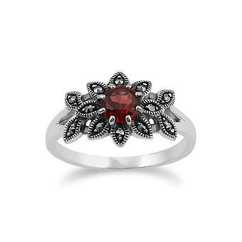 Gemondo 925 Sterling Silver blommig Art Nouveau stil Garnet & Markasit Ring