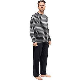Miesten raidallinen pitkähihainen toppi & housut Pyjama Lounge Wear L Grey-Blk