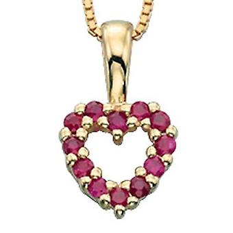 9 ct Gold With Ruby And Heart Necklace