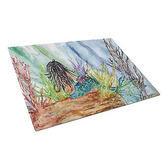 Black Haired Mermaid Water Fantasy Glass Cutting Board Large
