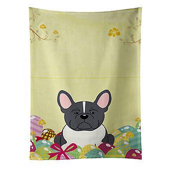Easter Eggs French Bulldog Black White Kitchen Towel
