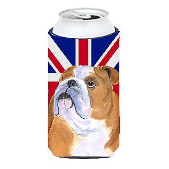 Bulldog Inglés con inglés bandera bandera británica muchacho alto bebidas aislante