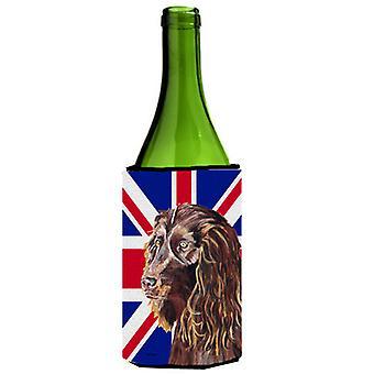 Boykin Spaniel con Engish Union Jack bandiera britannica bottiglia di vino bevanda Insulato