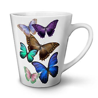 Butterfly Multicolor NEW White Tea Coffee Ceramic Latte Mug 12 oz | Wellcoda