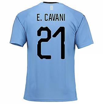 Thuis voetbalshirt van 2018-2019 Uruguay (E. Cavani 21)